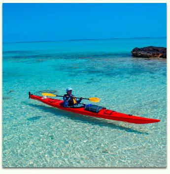 Caribbean island kayaking. Bahamian wilderness sea kayaking.